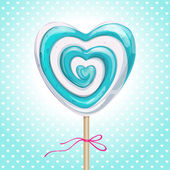Lollipop heart shaped tied by ribbon on dotted background Vector illustration for Valentine's Day wedding Birthday and party