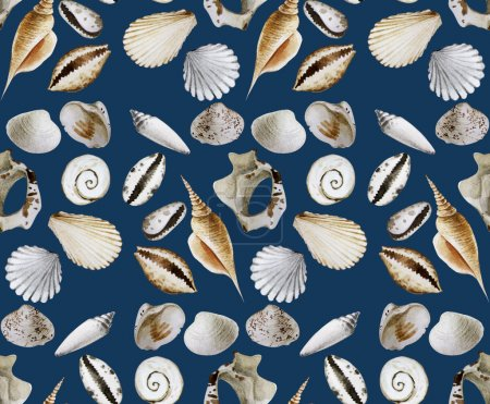 Watercolor seashells and corals pattern
