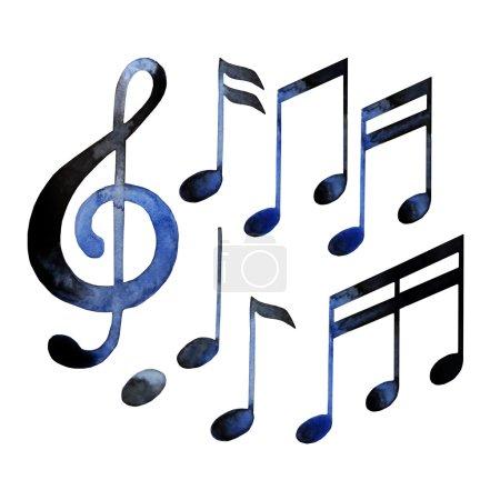 Photo pour Notes de musique aquarelles isolés sur fond blanc - image libre de droit
