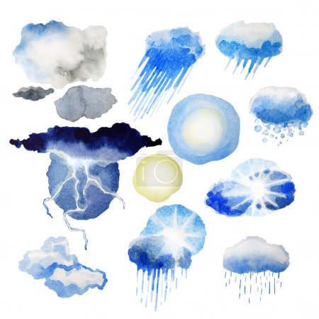Photo pour Collection de conditions météorologiques aquarelle. Eléments de design nature isolés sur fond blanc - image libre de droit