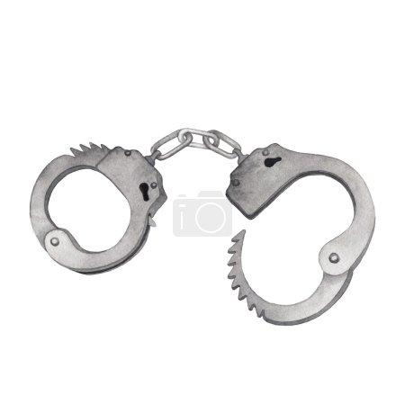 Watercolor metal handcuffs