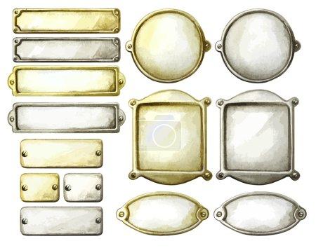 Illustration pour Ensemble de plaques métalliques aquarelle. Cadres rectangulaires, circulaires et ovales en or et argent. Éléments vectoriels de conception marine isolés sur fond blanc - image libre de droit