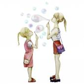 Two sisters blowing soup bubbles