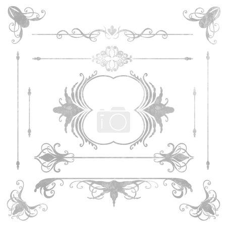 Illustration pour Collection d'éléments graphiques décorés. Cadres, coins et bordures. Ensemble vectoriel vintage - image libre de droit