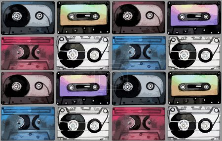 Watercolor cassettes pattern