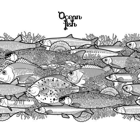 Graphic ocean fish border