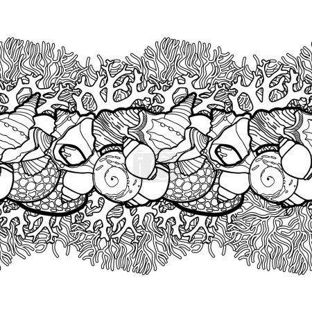 Graphic seashells border