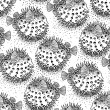 Graphic puffer fish iseamless pattern. Sea hedgeho...