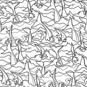Graphic dolphin seamless pattern Tails in stormy water Sea and ocean vector creatures in black and white colors Coloring book page design