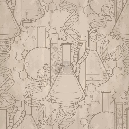 Illustration for Genetic research pattern. Graphic test tube, DNA sequences and chemical formulas. Vector medical seamless pattern - Royalty Free Image