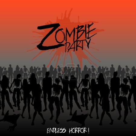 Zombie silhouettes crowd walking forward