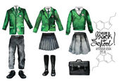 Back to school collection Watercolor school uniform set isolated on white background Male and female outfit in green color