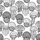 Jellyfish pattern in line art style