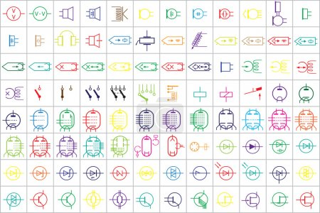 96 Electronic and Electric Symbols Colored Vector ...