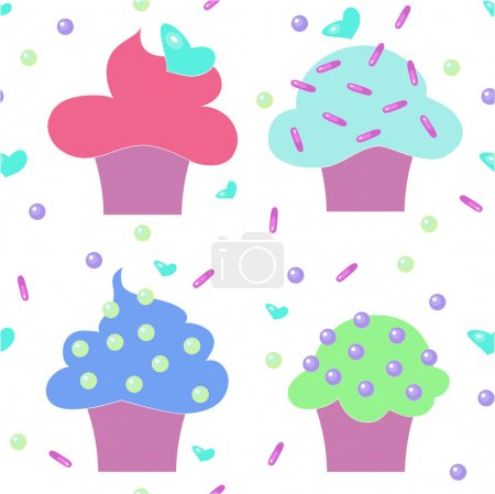 muffins cakes sweets confectionary seamless pattern vector