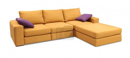 Corner upholstery sofa set with pillows isolated on white background with clipping path