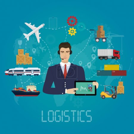Illustration for Vector logistics manager agent concept. Delivery cargo vector service illustration. - Royalty Free Image