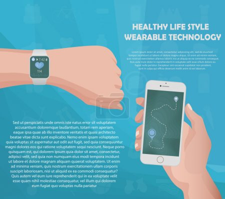Smartwatch fitness tracker concept with icons of healthy, fitness, lifestyle and physical activity with your text in slots. Vector illustration.
