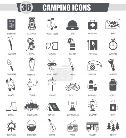 Illustration for Vector Camping travel black icon set. Dark grey classic icon design for web - Royalty Free Image