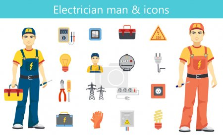 Electrician man concept and color flat icons set isolated.