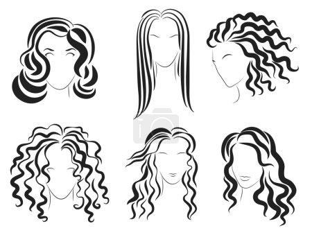 Illustration pour Femmes visage coiffure silhouette logo. Illustration vectorielle - image libre de droit