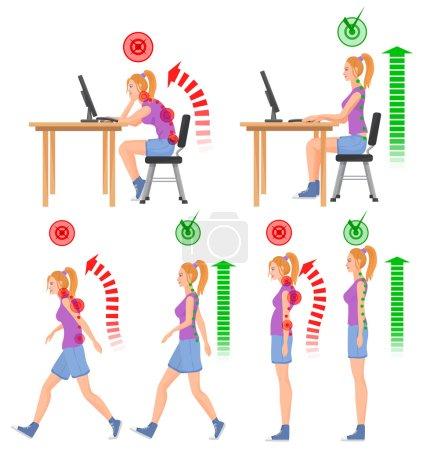 Illustration pour Mauvaise position assise et marche correcte et incorrecte. Femme qui marche. Femme assise. Sensation de mal de dos et lésions vertébrales - image libre de droit