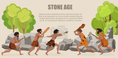 Stone age war primitive men tribes fighting. Barbarian Caveman warrior, ancient man with weapons.