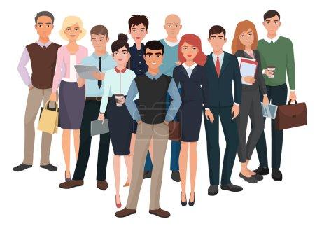 Illustration pour Groupe d'hommes et de femmes. Équipe créative d'affaires avec le chef. Des gens d'affaires. Structure de communication d'entreprise - image libre de droit