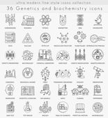Vector Genetics and biochemistry technology ultra modern outline line icons for web and apps.