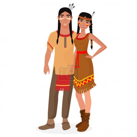 Native American Indian family. American Indians man and woman couple in traditional national clothes.