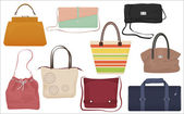 Woman fashion bags collection Casual female handbag front isolated icons set