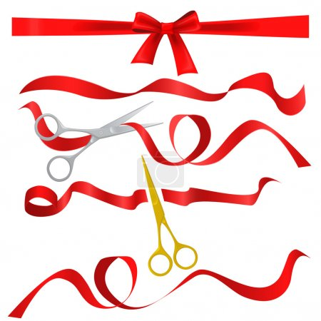 Metal chrome and golden scissors cutting red silk ribbon. Realistic opening ceremony symbols Tapes ribbons and scissors set.