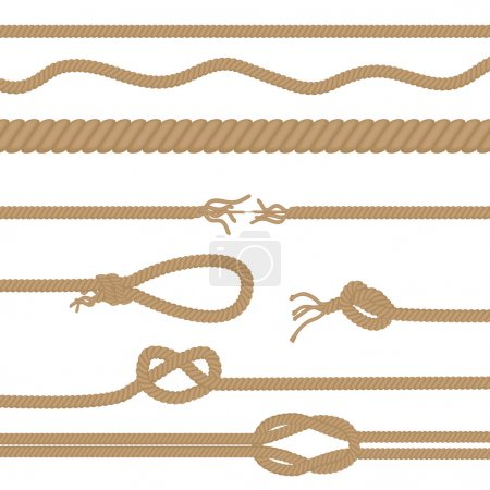 Illustration for Set of realistic vector brown ropes and knots brushes isolated - Royalty Free Image