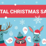 Christmas sale vector illustration. Cartoon forest...