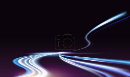 Illustration pour Longue exposition sentiers de lumière de voiture rapide sur la nuit illustration vectorielle de la route de la ville. Feu de circulation bleu néon queues de véhicules de transport automobile de vitesse, des lignes éclair automobiles lumineuses sur fond sombre autoroute - image libre de droit