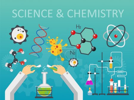 Illustration for Chemical laboratory science and technology flat style design vector illustration. Scientists hands workplace concept - Royalty Free Image