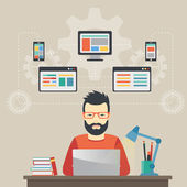 Man software engineer concept with design optimization responsive and developer solutions