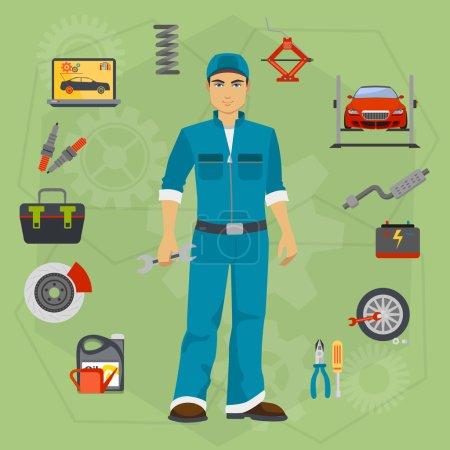 Illustration pour Voiture concept de service de réparation avec tuning diagnostics éléments plats et ouvrier isolé - image libre de droit
