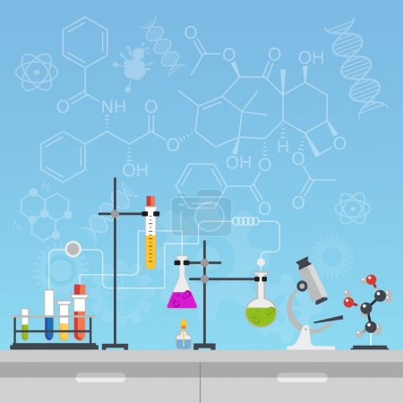 Illustration for Chemical laboratory science and technology flat style design vector illustration. Scientists workplace concept - Royalty Free Image