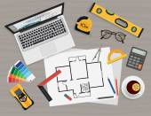 Architect construction planning and creating process with proffesional tools Projects technical concept Workplace top view