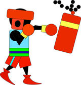 Boxer in helmet and gloves has a boxing bag From the powerful blow the chain holding a torn bag It can be used as logo Vector drawing