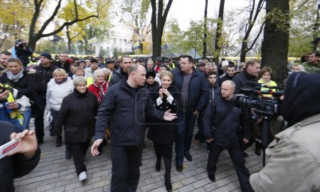 Batkivschyna Party leader Yulia Tymoshenko attended a protest action outside the Cabinet of Ministers against higher utility rates, aka Tariff Maidan, on November 1, 2015.