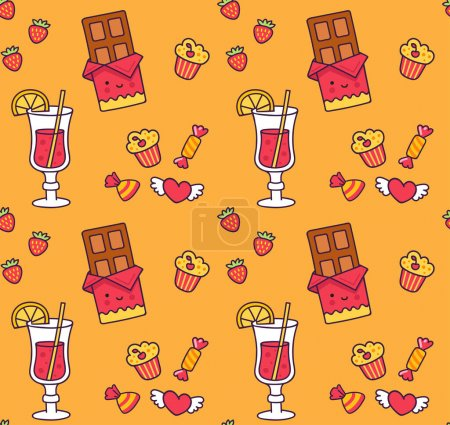 Photo for Seamless pattern with chocolates, sweets, mulled wine, cupcake, strawberries, hearts on a yellow background. Print for textile and fabric, decor, paper, wallpaper. Vector illustration. - Royalty Free Image