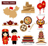 Set of icons of Chinese architecture food costumes traditional symbols Collection of illustration to guide China