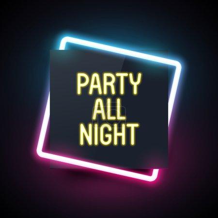 Illustration pour Bannière lumineuse néon carré pour la conception de flyer de fête. Modèle de boîte de nuit. Bannière sombre avec effet de lumière rétro . - image libre de droit