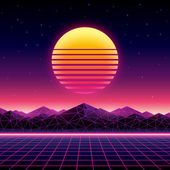 Retro futuristic background 1980s style