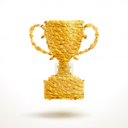 Golden cup made of coins