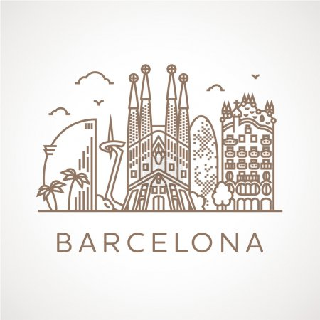 Barcelona with famous buildings and places
