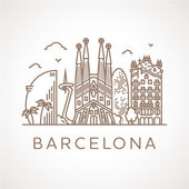 Trendy line illustration of Barcelona with different famous buildings and places of interest