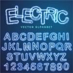 Vector blue electric alphabet, modern text effect...